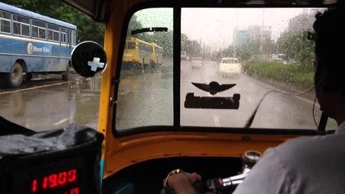 Auto stuck in rain