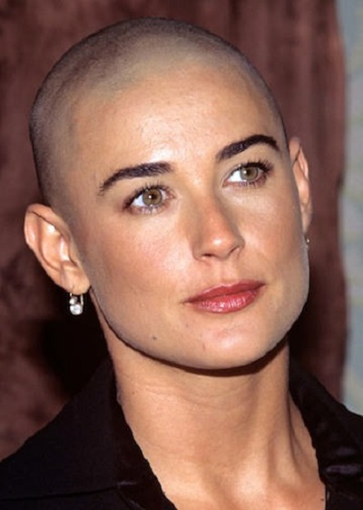 demi moore bald hairstyle
