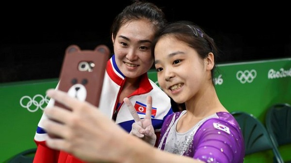 North and South Korean gymnasts