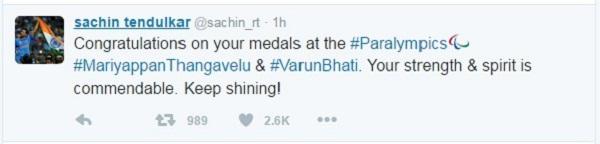 Sachin Tendulkar tweets