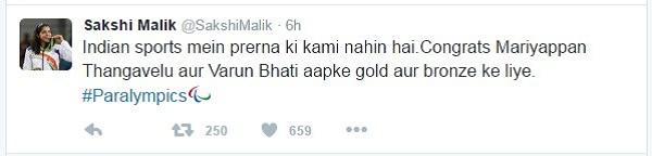 Sakshi Malik recent tweet