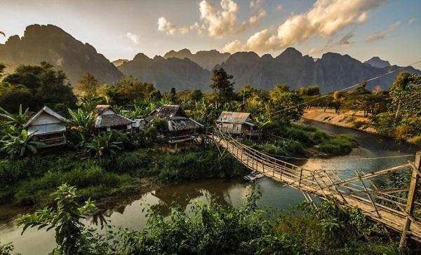 Farming village in Vang Vieng Laos