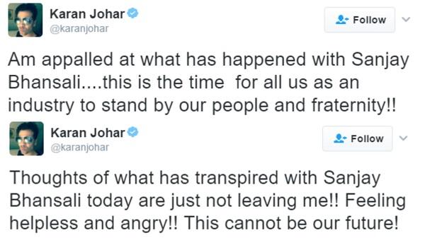 karan johar tweet bhansali