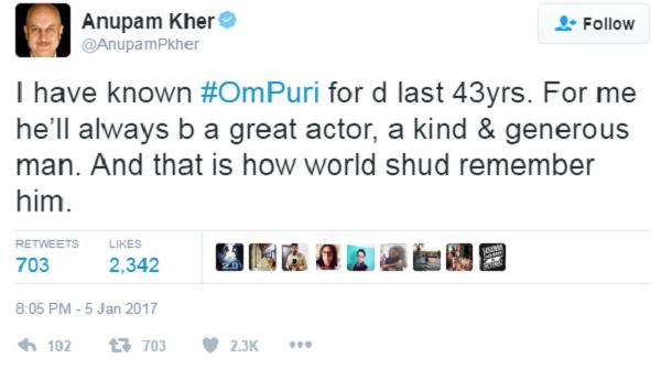 anumpan kher tweet om puri