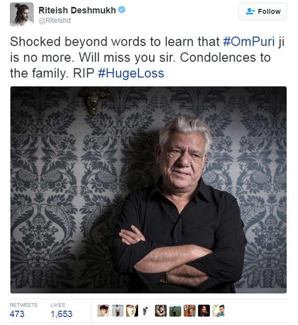 riteish tweet om puri