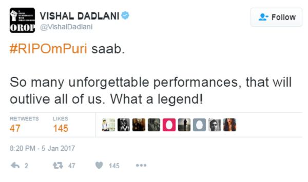 vishal dadlani tweet om puri